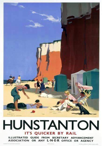 Hunstanton Norfolk. Vintage LNER Travel poster by HG Gawthorn