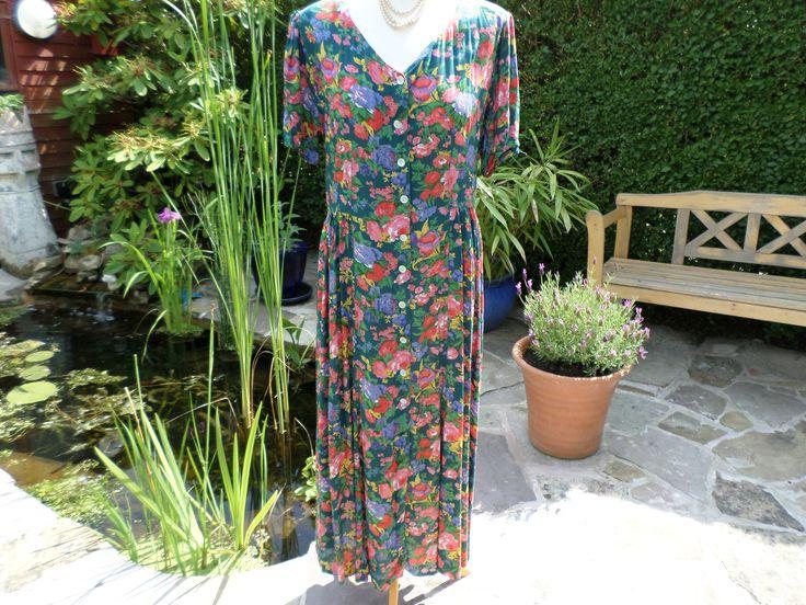 Vintage tea dress floral pattern  multi coloured  ,  button closure longer length size M by RetroWARDROBE on Etsy