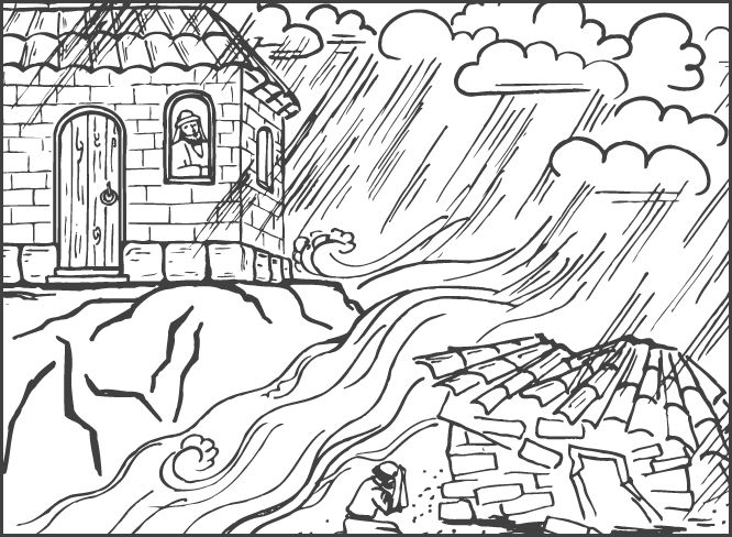 Colouringpage wise foolish man parable international for Wise man foolish man coloring page