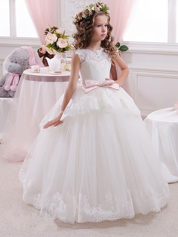 956cae87b480 Princess Tulle Applique Long Cheap Flower Girl Dress GTE2119 #flowergirl  #flowergirldresses #flowergirldress