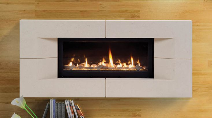 The Echelon Linear Direct Vent Fireplace Available With Stones Glass Or Driftwood Media