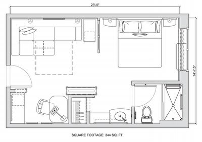 344 sq ft hyatt hotel suite layout that would work for a - Design a room floor plan ...