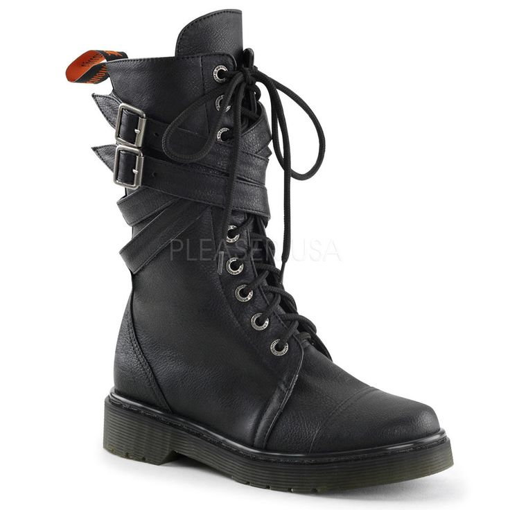 Demonia Vegan Black Gothic Punk Rock Combat Goth Buckle Strap Boots 9