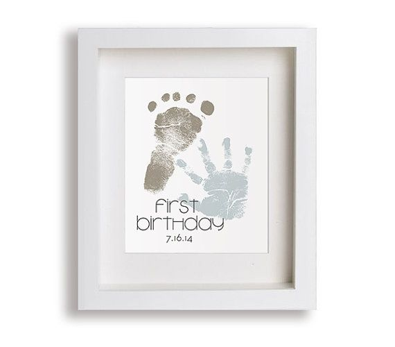 First Birthday Art Print Personalized Hand and by NikoAndLily