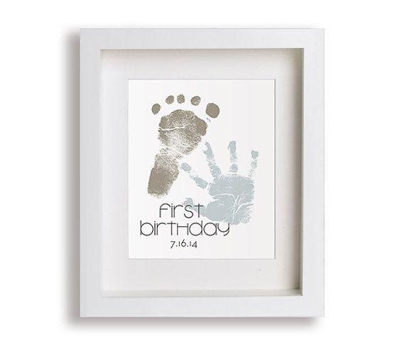 First Birthday Art Print - Personalized Hand and Foot Prints - 5x7 - Personalized Decor, Children Decor, Keepsake, Footprint, Handprint