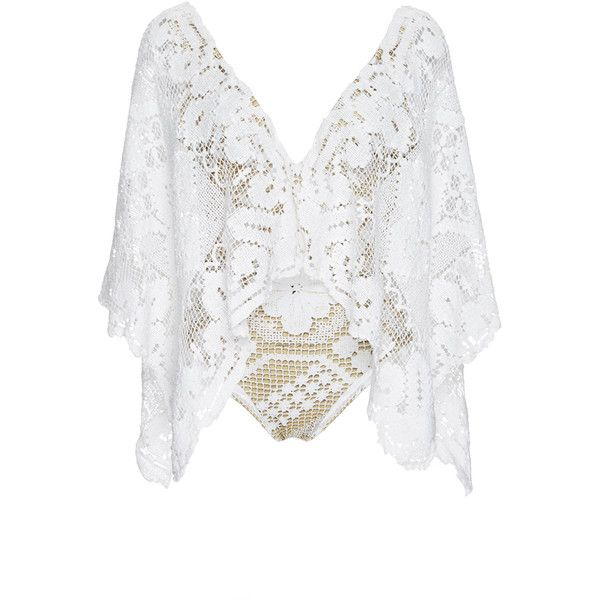 Agua de Coco Ceara Crochet Batwing Maillot ($1,285) ❤ liked on Polyvore featuring tops, drape top, crochet top, deep v neck top, low v neck tops and white top