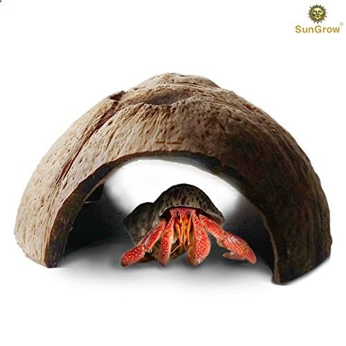 Natural SunGrow Connectable Coco Tunnel Hut for Spiders  Hermit crabs : Large Comfy space for Lizards : Organic Non-Toxic Hideout: Beautify Terrarium, Vivarium, Reptile tank, Aquarium or Crabitat CREATE NATURAL BEAUTY--- The natural coconut tunnel hideaway will blend beautifully in with your terrarium or reptile tank. It will simulate a natural environment, to create the perfect crabitat for your spiders and hermit crabs. LARGE SPACIOUS TUNNEL HIDEOUT---The large space of this c...