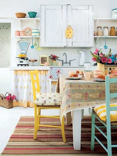Quaint Country Kitchen with color that pops