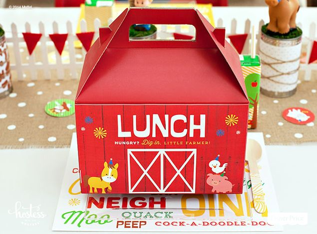 A free, printable label designed by @Hostess with the Hostess transforms ordinary lunch boxes into adorable, red barns. An easy DIY addition to your first birthday barnyard bash!