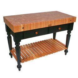 "John Boos 30"" W Le Rustica Butcher Block Table/Kitchen Island w/Shelf"