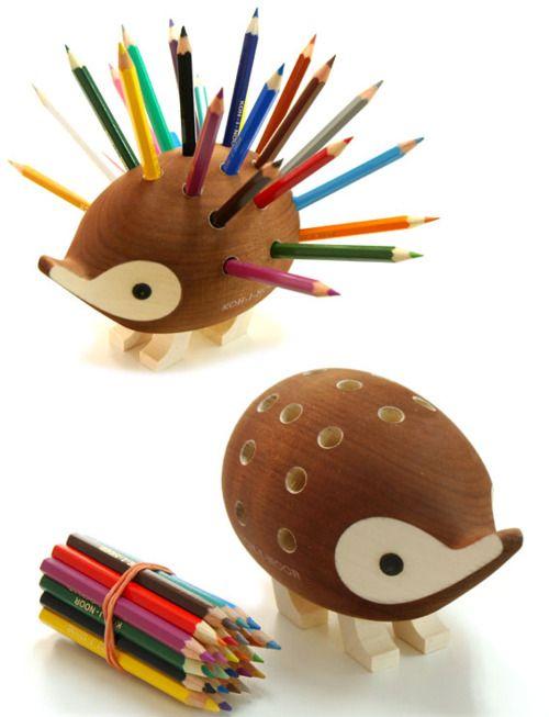 hedgehog pencil holder.Cute Ideas, Desks, Colors Pencil, Kids, Products, Design, Hedgehogs Pencil, Pens, Pencil Holders