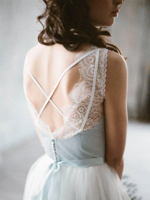 $600 Vuoksi  blue and grey corset wedding dress with by Milamirabridal