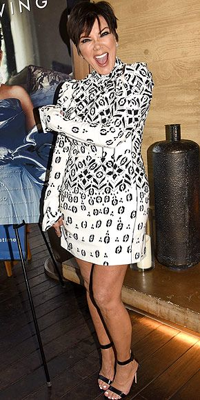Last Night's Look: Love It or Leave It? Vote Now!   KRIS JENNER   wears a black-and-white mini and black strappy sandals to celebrate her Haute Living magazine cover in L.A.