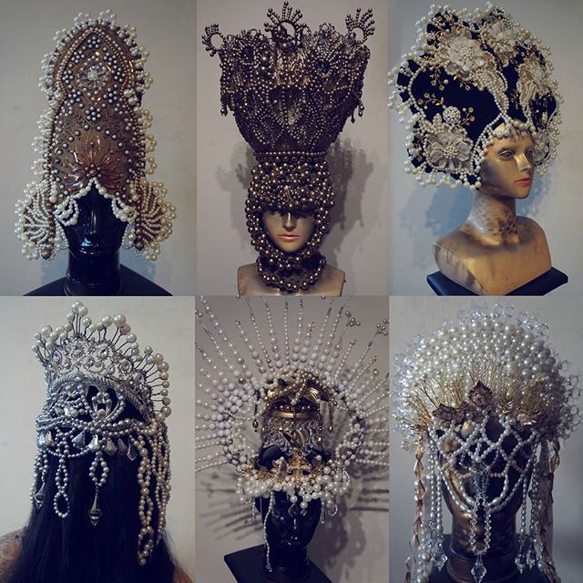 my newest headpieces ,no life, always at work #agnieszkaosipa #headpiece #headgear #kokoshnik #jewellery #embroidery #ornaments #beads #crystals #pearls #lace #handmade #golden #silver #crown #fairytail #halo #mask #folklore #flowers#couture #fashion#art