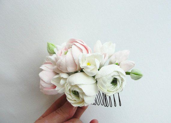 Ranunculus wedding comb wedding flower comb от FlowerFromEugene