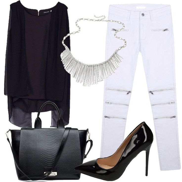 Jeans skinny bianchi con zip abbinati ad una blusa leggera con maniche ad aletta e cintura inclusa. La borsa è in similpelle e si porta sia a mano che a tracolla. Le décolleté effetto vernice sono a punta e hanno il tacco a spillo. La collana è color argento.
