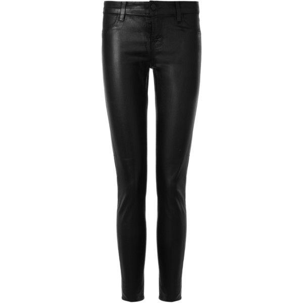 J Brand Black Tar Coated Leggings (545 CAD) ❤ liked on Polyvore featuring pants, leggings, jeans, black, bottoms, leather pants, shiny leggings, lightweight pants, black leather leggings and real leather leggings