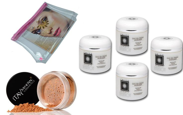 Bundle 4 Items: 4x Swisa Dead Sea Firming Moisturizer + 1x Mineral Foundation Mf-5 9 Gram Md Skin + Cosmetic Bag By Itay Mineral Cosmetics. SWISA DEAD SEA + ITAY MINERAL COSMETICS BUNDLE. INCLUDES:. 1 Itay Mineral Cosmetics Luminous,Glowing Full Coverage FULL Size Full Coverage Foundation (9 grams) in MF5. 4X SWISA BEAUTY 2 OZ OF FIRMING MOISTURIZER Ideal as a make-up base. 1X 1 Itay Mineral Cosmetics Airplane Travel Cosmetics Bag.