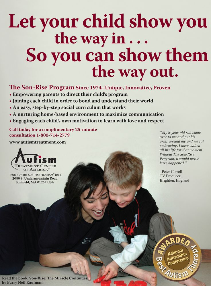 The Son-Rise Program since 1974-Unique, Innovate, Proven 7 Empowering parents to direct their child's program. Joining each child order to bond and understand their world. An easy, step-by-step social curriculum that works. A nurturing home-based environment to maximize communication. Engaging each child's own motivation to learn with love and respect. Call today for a complimentary 25-minute consultation 1-800-714-2779 www.autismtreatment.com