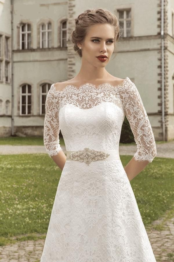 Cheap Vintage Wedding Dresses Lace Sexy Off Shoulder Sheer Elbow Sleeves Corset Back Wedding Gowns with Ribbon Outdoor Bridal Dresses 2015