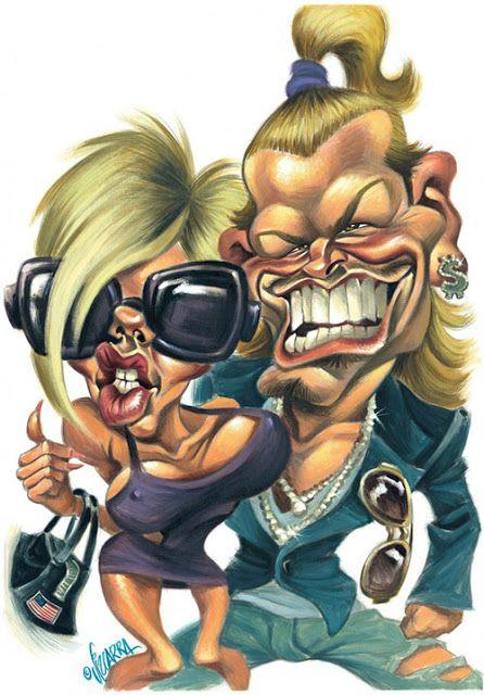 """Caricaturas de """"David y Victoria Beckham"""" por Joan Vizcarra"""