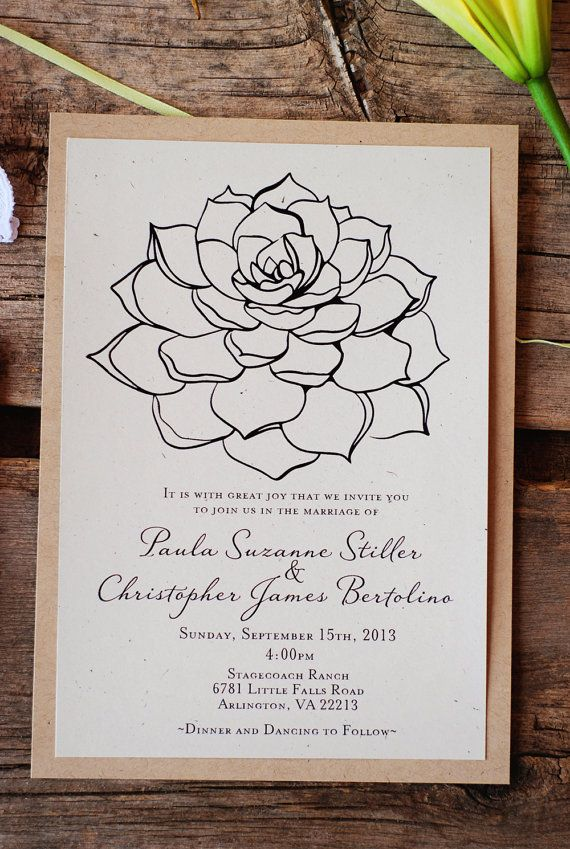 Succulent Wedding Invitations - Vintage Rustic Modern - Recycled Paper - Doily - Cactus Desert - Bridal Shower - Menu - Place or Escort Card