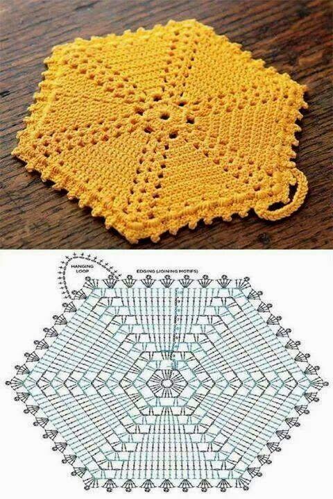 Luty Artes Crochet: Pegador de panela em crochê + Gráficos.