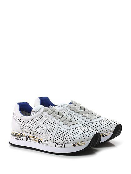 PREMIATA - Sneakers - Donna - Sneaker in pelle e pelle forata con suola in gomma. Tacco 40, platform 30 con battuta 10. - 1217 WHITE - € 200.00