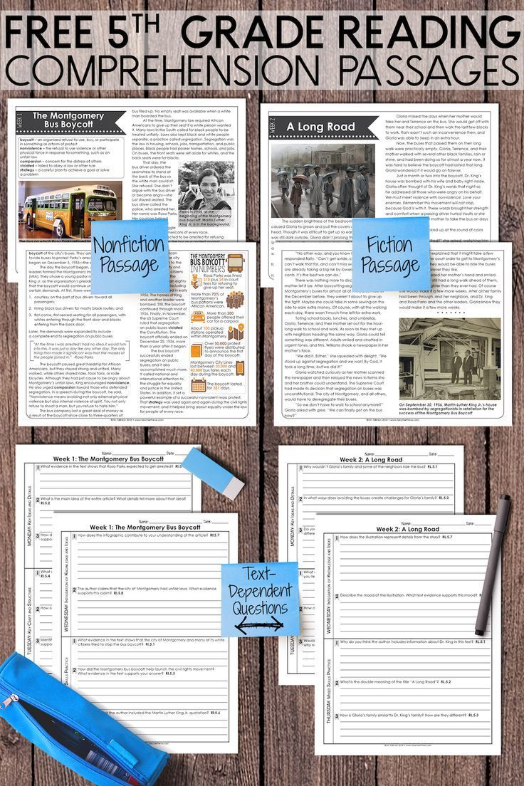 Free 5th Grade Nonfiction And Fiction Reading Passages With Text Dependent Questions Fiction Reading Passages Reading Comprehension Reading Passages [ 1104 x 736 Pixel ]