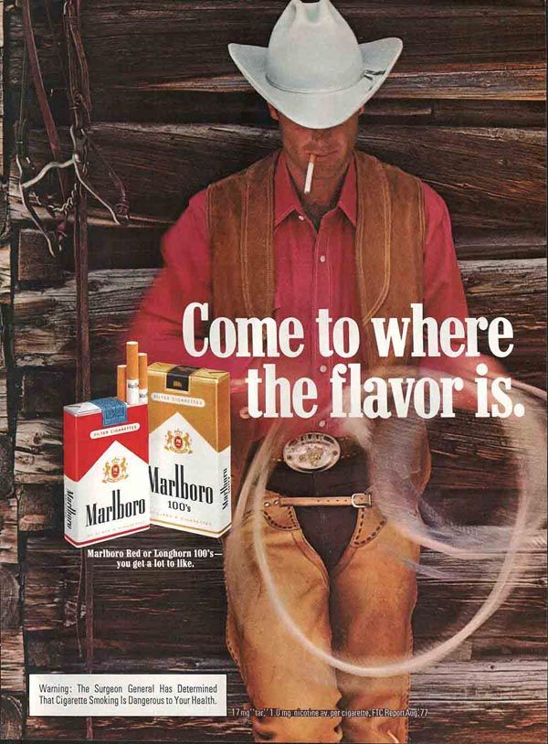 Magazine ad for Marlboro cigarettes. Circa 1978.  My brand till I stopped cold turkey.