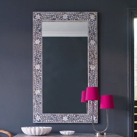 Maxi Mother of Pearl Inlay Mirror in Grey - View All Mirrors - Mirrors - Lighting