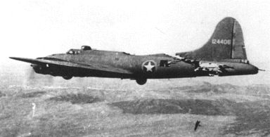 Battle-Damaged B-17 Flying Fortresses: Fuselage struck by a German fighter, whose pilot had just been killed by this bomber's tail gunner. No-one on the B-17 was injured or killed. Only one spar was left undamaged, holding the tail on for three more hours until they landed in England. It never flew again, though.