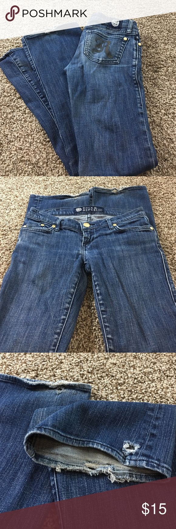 """Rock & Republic Jeans Some flaws at hem--see picture. Cut#001497. Inseam 30"""". Rock & Republic Jeans"""