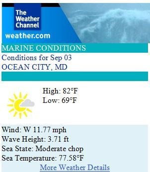 Ocean City Maryland Weather Forecast for Wednesday, September 3rd 2014 - Clear skies, calm seas! #ocmd