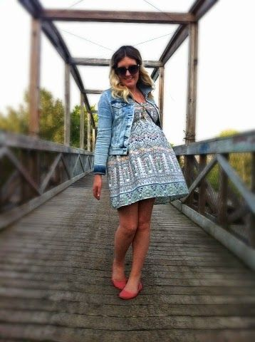 Crossing a Bridge | Liv.vie In Love Denim jacket, printed smocked strapless sundress, coral flats, vintage blue purse, and sunglasses. Maternity style, maternity fashion, pregnancy style, pregnancy fashion, baby bump style, baby bump, 34 weeks, ootd, wiwt, blogger, fashion stylist