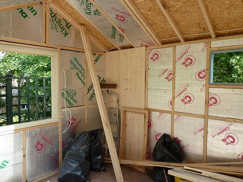 New shed project 15 - Insulation almost completed and timber cladding begun. I know there's still a lot to do but it feels close now!