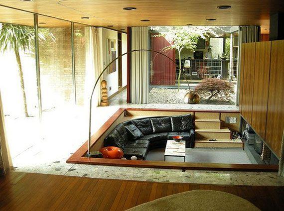 Nice Best Sunken Living Room Designs (41 Conversation Pits)