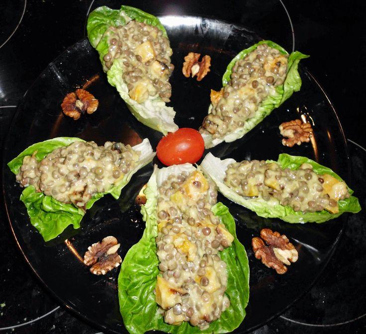 narancsos sütőtökös lencse saláta (gluténmentes, laktózmentes, tojásmentes, mindenmentes, vegán) / Recept /  lencse, dió, sütőtök, avokádó, narancs