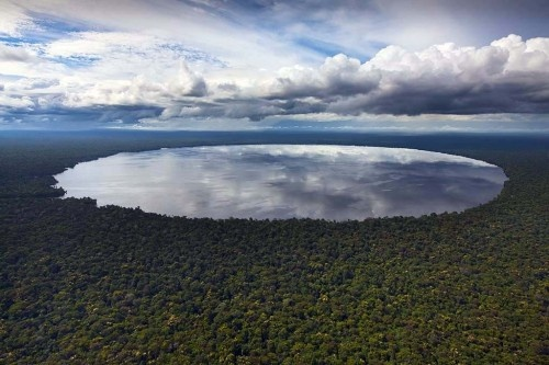 Lake Tele, Democratic Republic of the Congo. Home to the mythical Mokele Mbembe monster, feared by the local Ba'Aka pygmy forest people.
