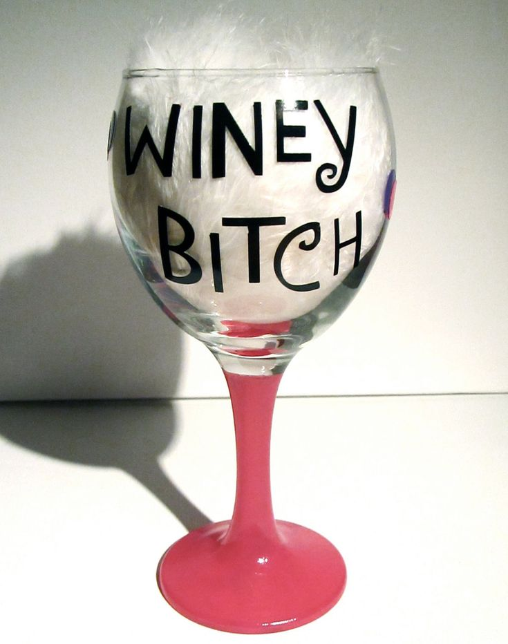 Winey Bitch Painted/ Crafted Wine Glass/Glasses. $11.95, via Etsy.