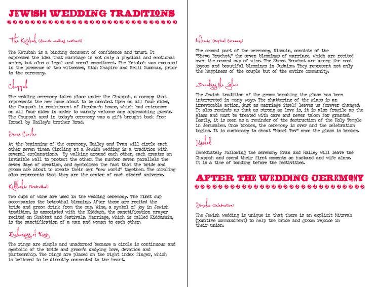 Jewish Wedding Program Ceremony