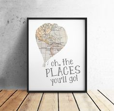 Dr Suess Quotes, Oh the Places You'll Go, PRINTABLE Art, Vintage Map, Hot Air Balloon, Nursery Decor, Literary Gift, 8x10 Digital Download by off2market on Etsy Download Bookling