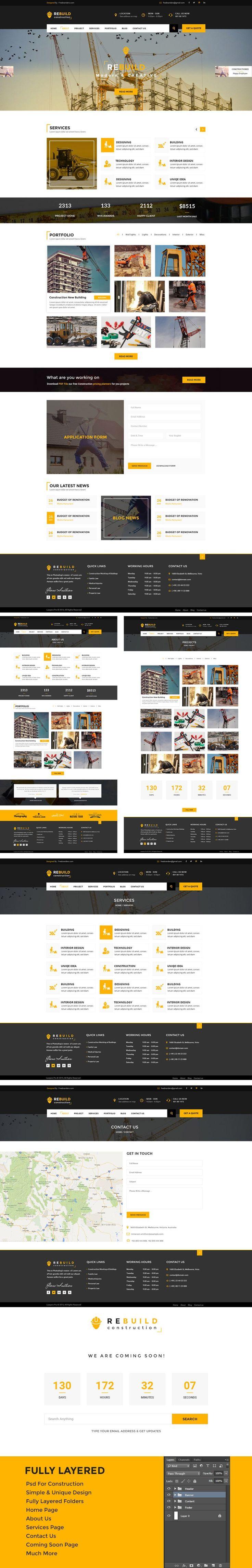 Construction Website PSD Templates