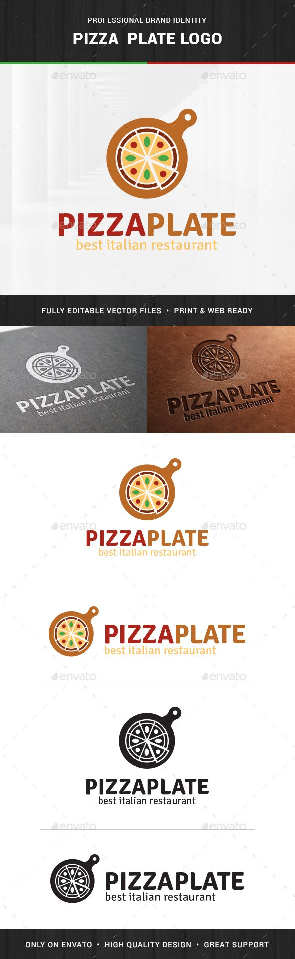 The Pizza Plate Logo Template A professional and modern pizza logo. All elements are fully vector and can be used for both print a
