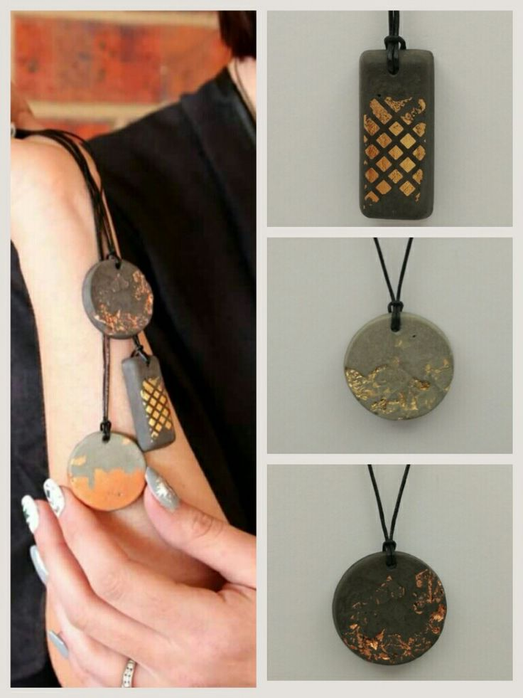 Cement Jewelry Pendants by Nancy Joanna Collection with Rose gold leaf, gold leaf and also henna design patterns @ lamiajewellery.net