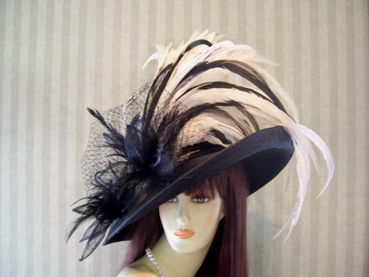 Kentucky Derby Hat, Wedding Hat, Black Wide Brim Hat, Preakness Hat, Belmont Hat | eBay
