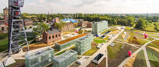 Former site of the 'Katowice' coal-mine is now occupied by new Silesia museum nicely blended into the landscape.