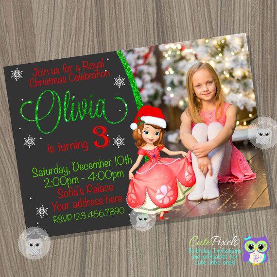 Sofia the first Christmas Invitation, Christmas Princess Invitation, Sofia the first Birthday, Disney Princess invitation, Christmas Invite