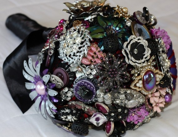 brooch bouquet with a lot of black