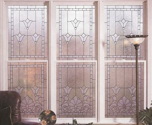 Faux stained glass window film victorian tulips window for Decorative window film stained glass victorian